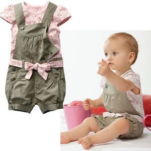 Soft Cotton Baby Girls Clothes Shirt Army Suspender Pants New Suits for 9 18M