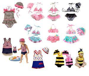 Age 1 8 Baby Kids Boys Girls Swimming Suit Costume 3pcs Binki 2 Pcs Suit w Hat
