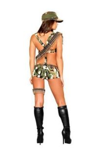 Women's Patriotic Sexy Seductive Soldier Pinup Army Girl Halloween Costume s M