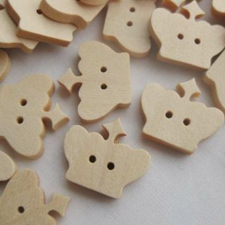 20x Wood Buttons Cute Cartoon Crown Baby Clothes Applique DIY Craft Sewing D011