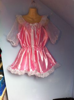 French Maid Dress Cosplay Sissy Adult Baby CD TV 16 18 20 Pink Satin Adult Child