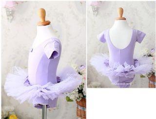 Girls Party Dance Ballet Tutu Dress Costume 3 8 T Purple Leotard Pettiskirt TT03