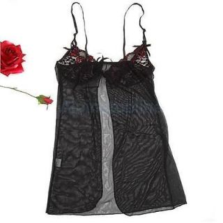 2pc Black Sexy Women's Lace Costume Lingerie Sleepwear Dress Sheer Babydoll Hot