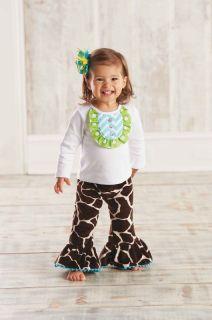 Mud Pie Wild Child Girls Giraffe Disco Set Top Flared Pants 0M 12M 18M 2T 3T