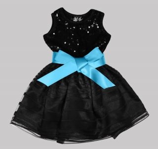 Black Sequin Dress Turquoise Sash Infant Toddler Girls