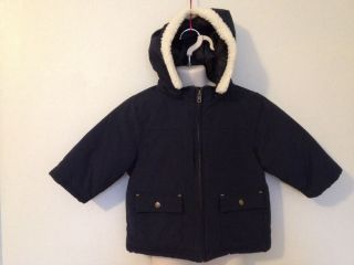 Gymboree Navy Blue Coat Size 18 24 Months Boys Removable Hood Faux Fur Jacket