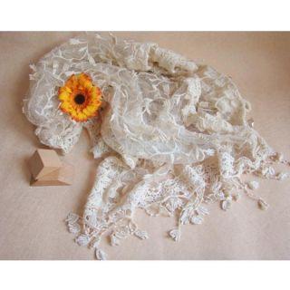Women Vintage Soft Fashion Flower Crochet Lace Tassels Scarf Bridal Party Shawl