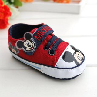 Baby Boy Girl Red Mickey Mouse Crib Shoes Sneakers Size 3 12 Months