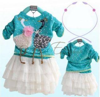 1pc Kid Baby Blue Girls Swan Dress Knit Top Tulle Skirt Tutu Costume Clothing 3T