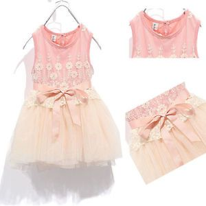 Girls Baby Lace Tank One Piece Tutu Dress Bow Knot Belt Tulle Skirts 1 5years