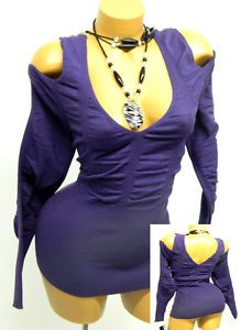 Baby Phat Goth Purple Low Cleavage Cold Shoulder Smocked Sweater Top 3X