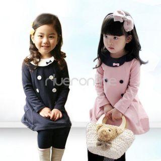 Girls Kids Top School Dress Skirt Long Sleeve Party One Piece Costume Sz 2 7