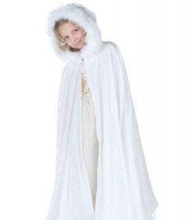 Kids Girls Snow Princess Halloween Costume Long White Cape Cloak Child