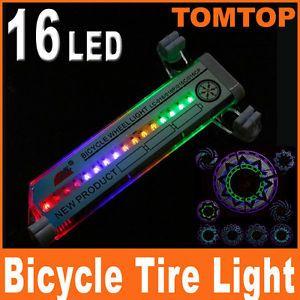 Bike Bicycle 16 LED Flash Tire Wheel Light Valve Car Motorcycle Spoke Light