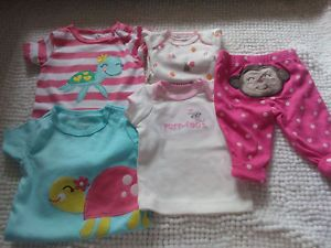 Carter's Lot of 5 Baby Girl Clothes Newborn 3M Bodysuits Pants T Shirt
