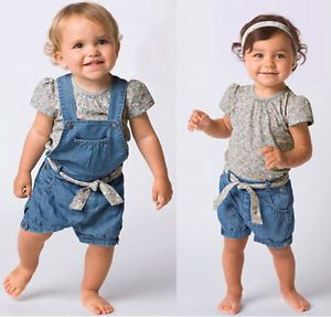 3pcs Baby Girl Kid Top Pants Overalls Trousers Belt Jeans Outfit Clothes 1 6Y