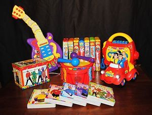 Huge Lot Wiggles Big Red Car Singing Guitar Musical Drum Cassette Player Plus