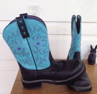 Ariat Fat Baby Boots Size 7 1 2 Black Turquoise Euro 39 Western Boot 7 5