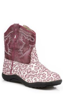 Roper Infant Girls Cowboy Boots Pink Faux Leather Leopard Glitter 1003 I