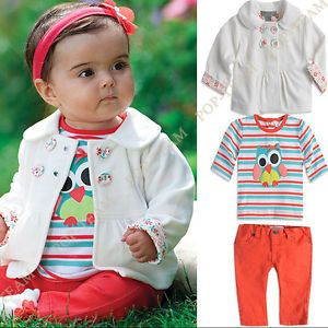Girls Baby 3pc Jacket Long Sleeve Cartoon T Shirt Pants Set Clothing FT54