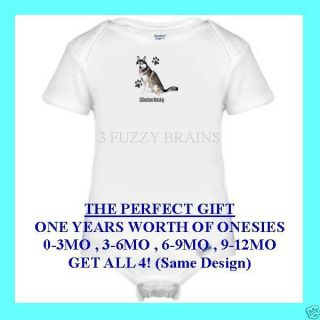 Siberian Husky Puppy Dog Paws One Piece Infant Onesie Set 0 3 6 9 12 Months