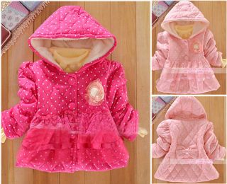 Baby Girls Kids Polka Dot Candy Color Floral Winter Warm Jacket Clothes 1 4Year