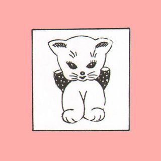 Vintage Pattern Kitten Kitty Cat with Bow Applique Embroidery Quilt