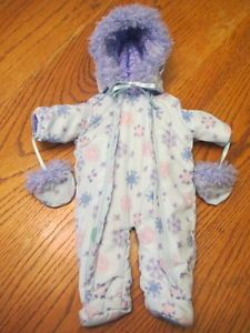 American Girl Bitty Baby Twins Doll Clothes Purple Snow Suit Bunting w Mittens