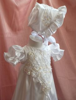 Luxury Christening Gown 0 3 Month Baptism Dress Reborn Baby Doll Dress 76