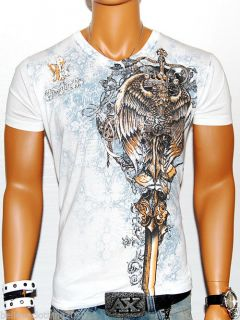 Mens Conflict White Designer V Neck T Shirt Muscle MMA UFC Club Tee Sexy