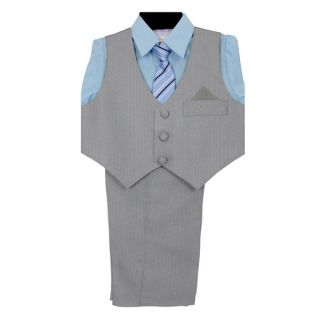 New Baby Boy Light Gray Pinstripe Suit Vest Set with Blue Dress Shirt Formal