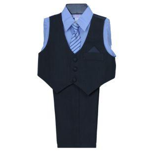 New Khaki Gray Pinstripe Toddler Boy Vest Set w Blue Dress Shirt Formal 2T 3T 4T