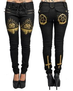Too Fast Rat Baby Eye Cross Tattoo Black Moto Biker Lace Up Pants Skinny Jeans