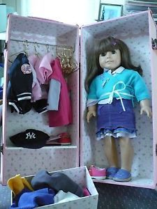 American Girl Doll Carry Case Clothes Shoes Accessories Lot