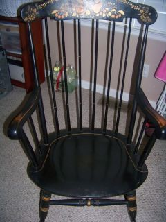 Nichols Stone Rocker Rocking Chair Black Gold with Stenciled Fruit Design