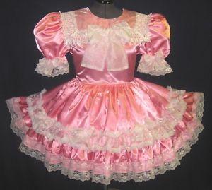 Custom Fit Pink Satin Organza Bows Adult Baby Sissy Dress Leanne