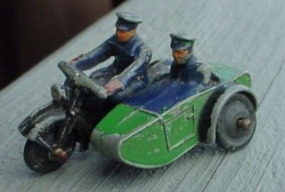 Antique Indian BSA Triumph Harley Davidson Sidecar Motorcycle Cast Toy