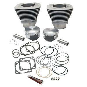 S s 4 1 8 inch Bore Cylinder Piston Kit Harley EVO V124 Engine w s s Crankcases