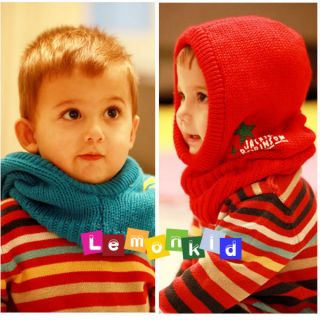 Winter Offset Printing Hooded Hat Scarf Boy Girl Warm Hat 1pc