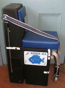 The keeper dlx ice fishing blue padded chair storage rods for Ice fishing seat