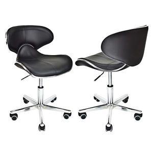"Leather Hydraulic Massage Salon Stool 21""H Black Chair Tattoo Facial Spa Beauty"