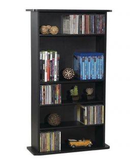Media Storage Cabinet DVD CD Organizer Tower Rack Black Shelf Book Office New