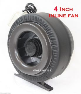 "4"" Inline 190CFM 120V Hydroponics Duct Tube Exhaust Fan Blower Leather Sleeve"