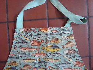 Vintage PVC Wipe Clean Apron Colourful Fish Design from Cuckoobird Textiles