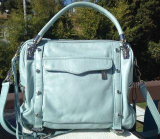 $495 Rebecca Minkoff Cupid Satchel Baby Blue Leather Crossbody Handbag Bag