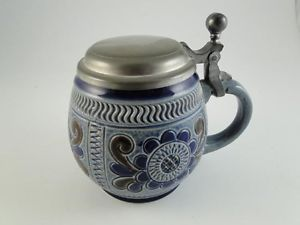 Vintage Marzi Remy West Germany Art Pottery Pewter Lid Beer Stein Mug Cup Blue