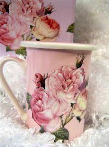 Victorian Pink Roses on Coffee Cup Tea Mug Warming Lid Coaster Kent Pottery