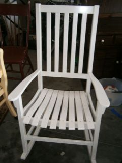Classic White Wood Front Porch Rocker Rocking Chair