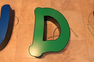 "Vtg Metal Marquee Channel Letter D 24"" Architectural Salvage Wall Art Industrial"