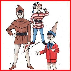 Lot Costume Sew Pattern Pinocchio Robin Hood Elf Child 10 Vintage Hat Nose Hood